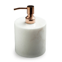White Marble Soap Pump Copper