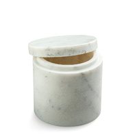White Alabaster Canister with Lid 10.5x10.5cm
