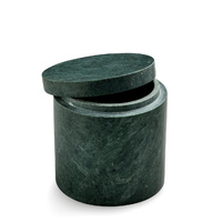 Green Marble Canister with Lid 10.5x10.5cm