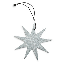 Silver 9 Point Glitter Star Ornament