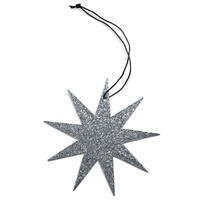 Grey 9 Point Glitter Star Ornament