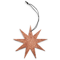 Copper 9 Point Glitter Star Ornament