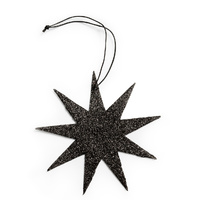 Black 9 Point Glitter Star Ornament