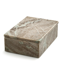 Marble box with lid - large brown