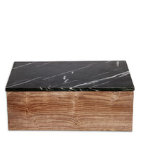 Wooden Box Medium w Black Marble Lid