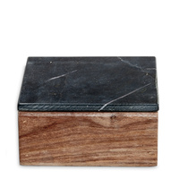 Wooden Box Small w Black Marble Lid