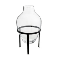 Vase large w matt black stand