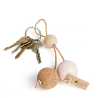 by Wirth Key Sphere Keychain - Nature Oak with Peach