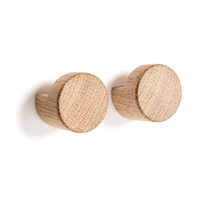 by Wirth Wood Knot Wall Hooks - Small - Nature Oak 2pc