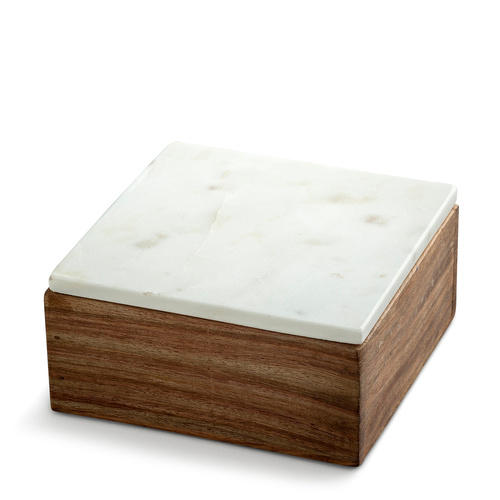 Wooden Box Small w White Marble Lid