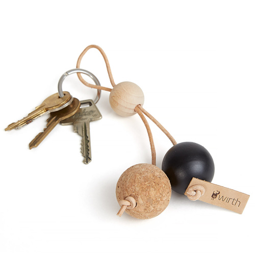 by Wirth Key Sphere Keychain - Natural Oak with Black