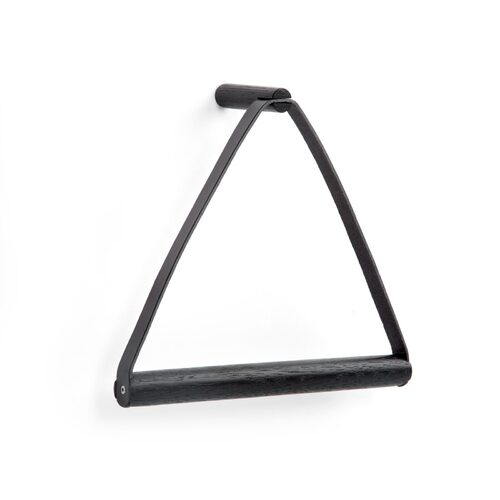 by Wirth Towel Hanger - Black Oak  and Black Leather - Wall Mounted