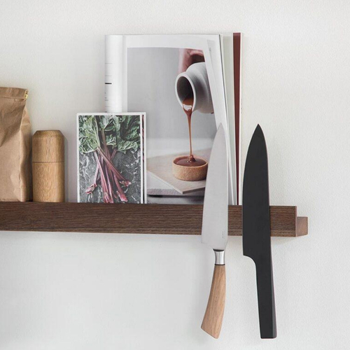by Wirth Magnetic Wall Shelf and Knife Rack in Smoked, Dark Oak 40cm