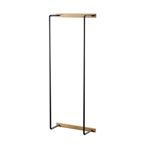 by Wirth Bathroom Towel Rack Natural Oiled Oak, Black Metal