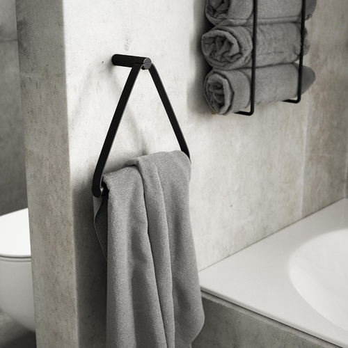 by Wirth Towel Hanger - Black Metal and Black Leather